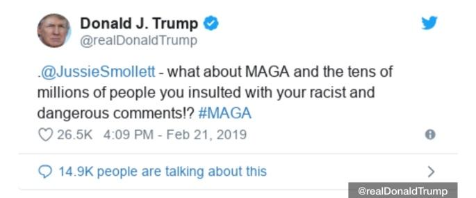 Donald Trump tweet over Jussie Smollett fake attack